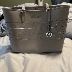 Michael Kors Cut-Out Silver Tote